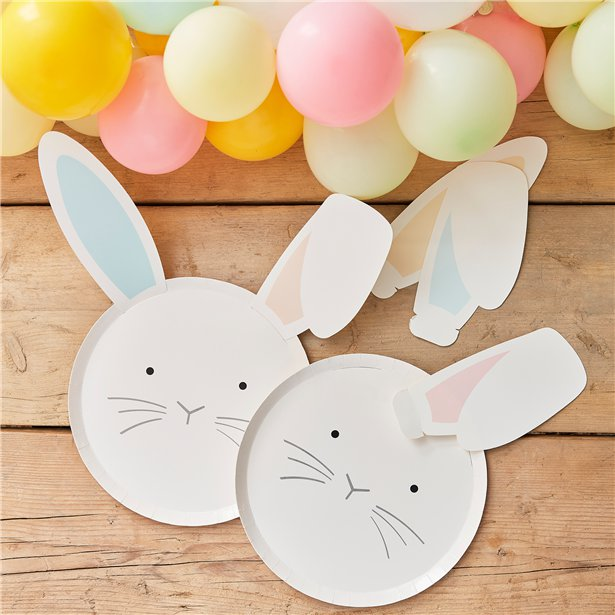 Daisy Easter Bunny Paper Plates Gold Foil