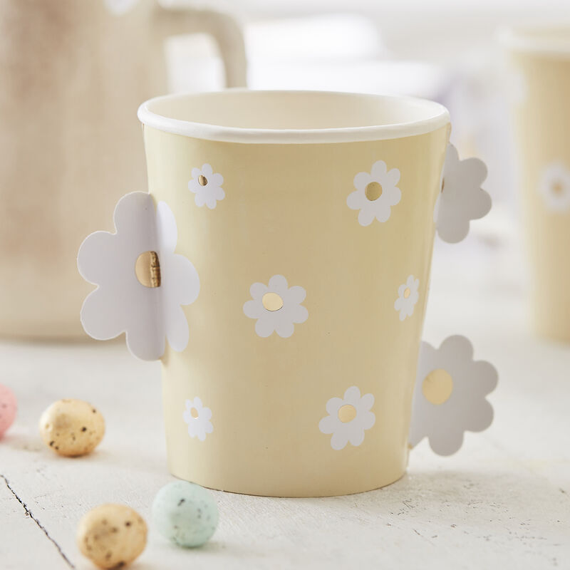 Daisy Easter Paper Cups Gold Foiled