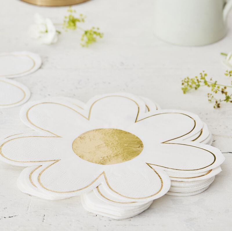 Daisy Easter Party Napkins Gold Foiled