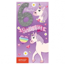 Unicorn Emoji Birthday Card Age 6