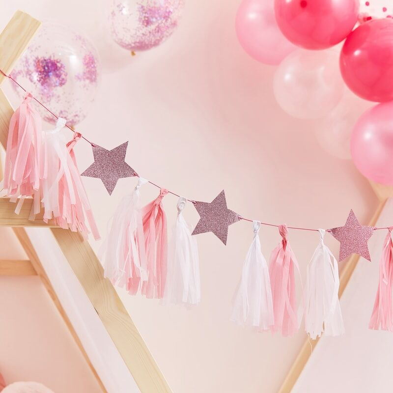 Pink Pamper Party Tassel Garland