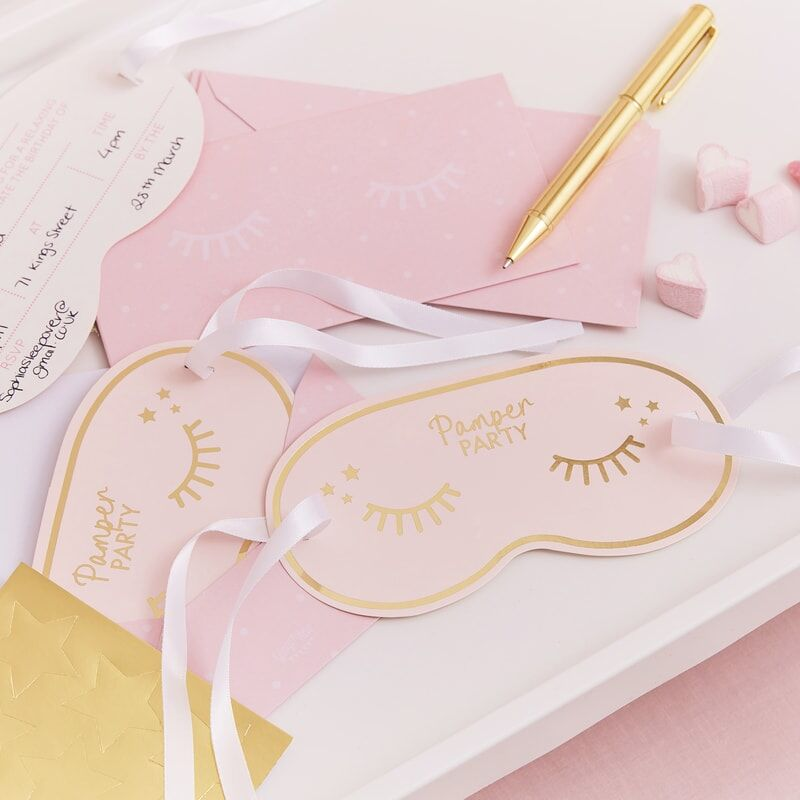 Pamper Party Gold Foiled Eye Mask Invitations
