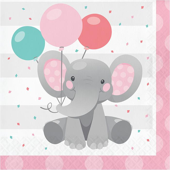 Enchanting Elephants Girl Party Napkins