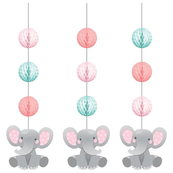 Enchanting Elephants Girl Party Hanging Cutouts