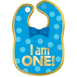 1st Birthday I Am One Boy Fabric Bib
