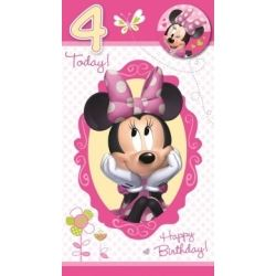 Minnie Mouse Age 4 Birthday Cards With Badge