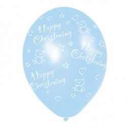 Happy Christening Blue Balloons