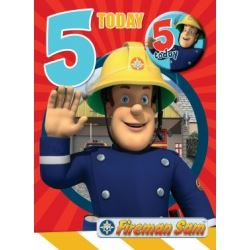 Fireman Sam Birthday Card Age 5 With Free Badge