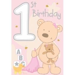 Bakpak Bear 1st Birthday Boy Card